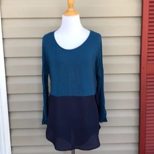 Ya Los Angeles women's peacock blue&navy blouse